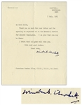 Winston Churchill Letter Signed Regarding the Death of WWII Admiral Andrew Cunningham