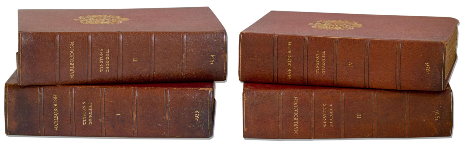 Winston Churchill Signed Limited First Edition of ''Marlborough: His Life and Times'' -- Rare Set Signed by Churchill, One of Only 155 in the Limited Edition, Here in the Original Bindings