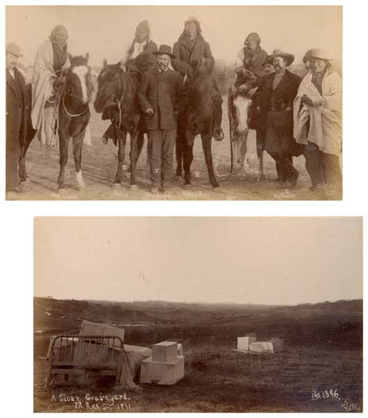 Two Original Photographs From 1891, Shortly After the Wounded Knee Massacre -- One Photograph Depicts ''A Sioux Graveyard'' & the Other Depicts Sioux Survivors Standing With Major Burke & Frank Gerard