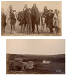Two Original Photographs From 1891, Shortly After the Wounded Knee Massacre -- One Photograph Depicts A Sioux Graveyard & the Other Depicts Sioux Survivors Standing With Major Burke & Frank Gerard