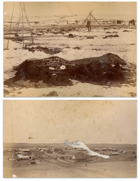 Two Original Photographs From 1891, Just Days After the Wounded Knee Massacre -- One Photograph Depicts the Battlefield With Fallen Lakota & a Destroyed Wagon