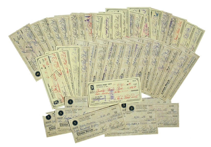Lot of 45 Checks Signed by Charles ''Bubba'' Smith, Written Entirely in His Hand -- All Signed With His Name & Nickname, ''Charles Bubba Smith'' -- Very Good Condition