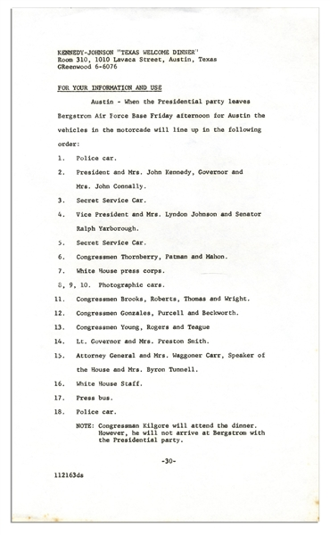 Texas Welcome Dinner Press Releases From the Night of John F. Kennedy's Assassination