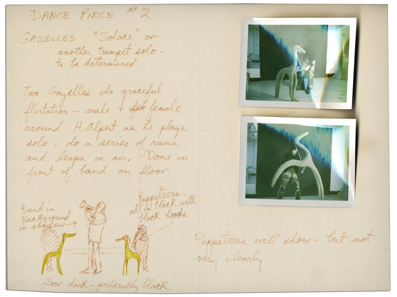 Jim Henson Early ''Muppets'' Character Sketch -- Depicting Notes for a Muppets Dance Number for a Very Early Television Debut -- Includes Two Polaroids of Henson Posing With the Puppets