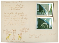 Jim Henson Early Muppets Character Sketch -- Depicting Notes for a Muppets Dance Number for a Very Early Television Debut -- Includes Two Polaroids of Henson Posing With the Puppets