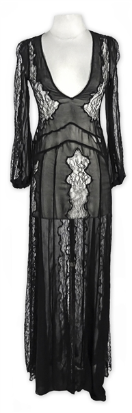 Kylie Jenner Owned Black Lace Maxi Dress