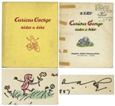 Curious George First Edition, Signed by H.A. Rey With His Original Ink Drawing of Curious George -- Curious George Rides a Bike From 1952