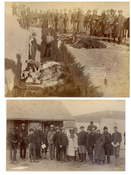 Two Original Sioux Photographs From 1891 -- One Photograph Shows Bureal of the Dead at the BattleField of Wounded Knee -- Other Photo Shows Lakota Sioux With Buffalo Bill Cody