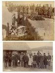 "Two Original Sioux Photographs From 1891 -- One Photograph Shows ""Bureal of the Dead at the BattleField of Wounded Knee"" -- Other Photo Shows Lakota Sioux With Buffalo Bill Cody"
