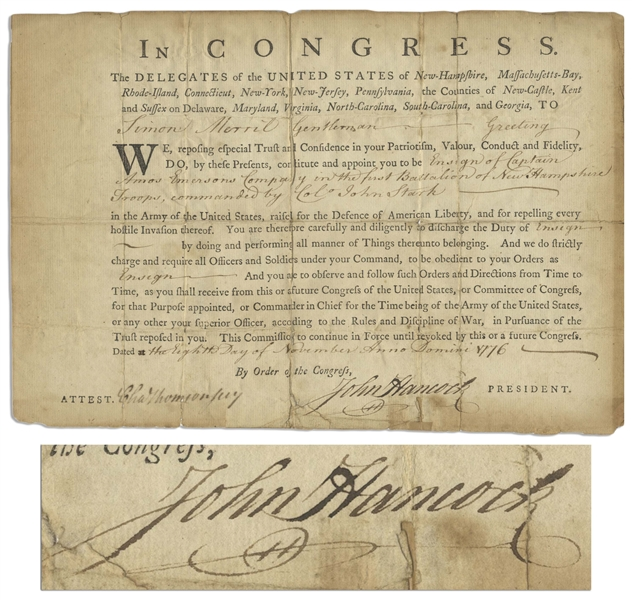 John Hancock Revolutionary War Military Appointment Signed in 1776 -- Hancock Appoints an Ensign to the Regiment of Colonel John Stark, The Hero of Bennington