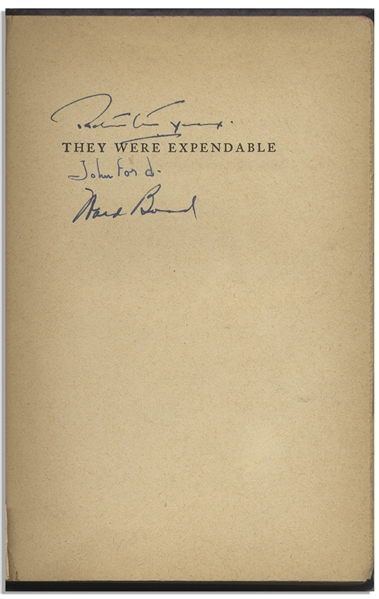 John Wayne and John Ford Cast-Signed Book for ''They Were Expendable''