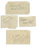 Large Signature by Babe Ruth -- Plus 30+ Baseball & Entertainment Autographs Including Edmund Gwenn, Boris Karloff, Carmen Miranda