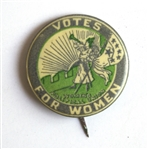 Womens Suffrage Button, Circa 1912 -- The Clarion Button With Six Stars Representing Californias Addition as a Suffrage State