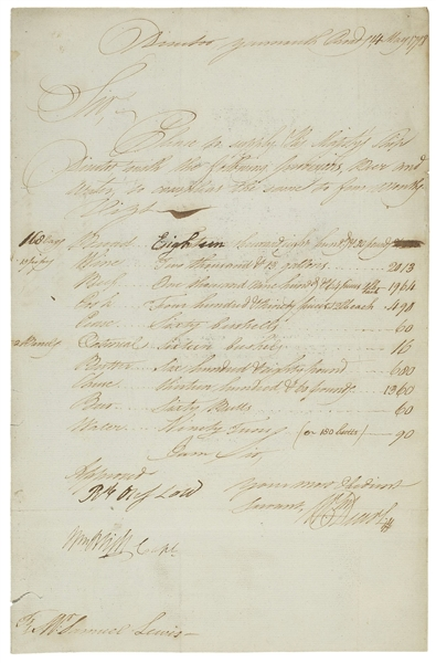 William Bligh Document Signed From 1798 for His Ship, the HMS Director -- Like the HMS Bounty, the HMS Director Also Mutinied Under Bligh's Command