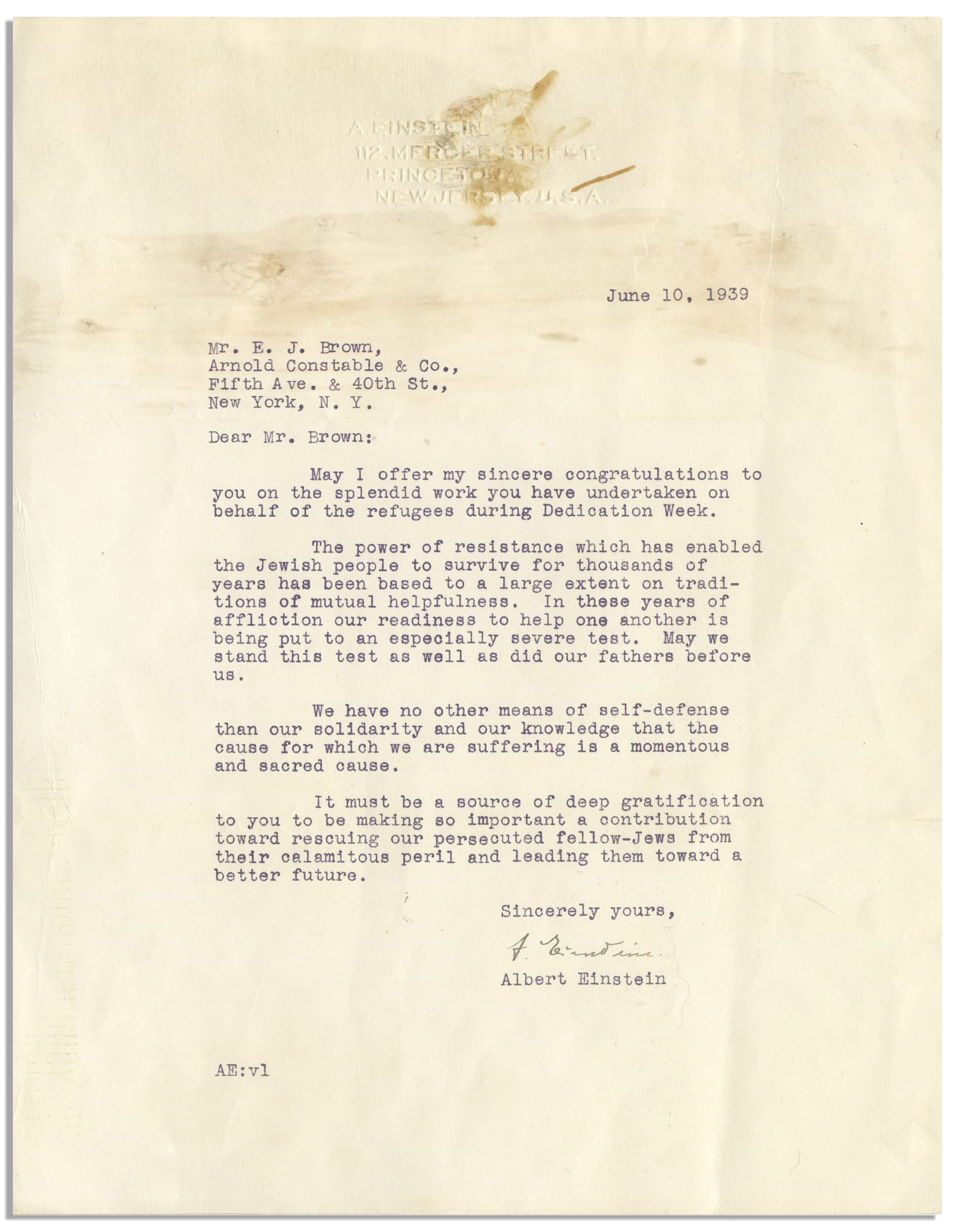 Lot Detail - Albert Einstein Letter Signed During WWII -- ''The