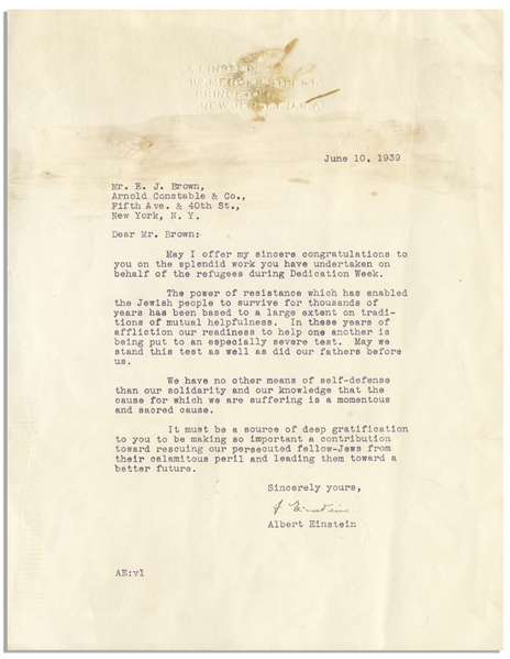 Albert Einstein Letter Signed During WWII -- ''The power of resistance which has enabled the Jewish people to survive...our readiness to help one another is being put to an especially severe test''