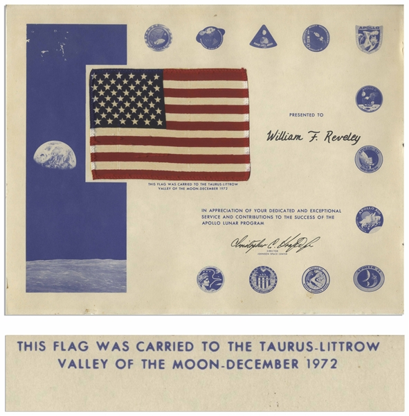 U.S. Flag Flown to the Moon and Carried to the Lunar Surface During the Apollo 17 Mission