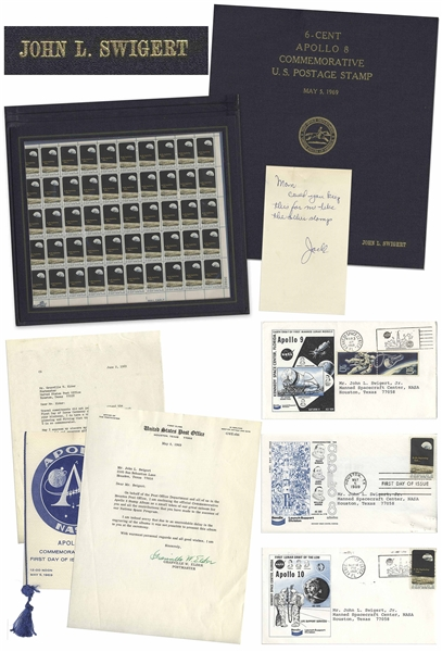 Apollo 8 Commemorative Stamp Set Issued to Jack Swigert -- In Swigert's Custom Folder & With Other Memorabilia Owned by Swigert Including His Signed Note to His Mom