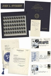 Apollo 8 Commemorative Stamp Set Issued to Jack Swigert -- In Swigerts Custom Folder & With Other Memorabilia Owned by Swigert Including His Signed Note to His Mom