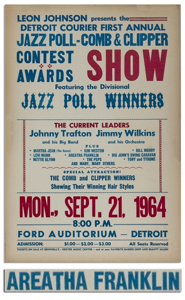 Aretha Franklin Concert Poster at Detroit's Ford Auditorium in 1964 -- Misspelled ''Areatha''