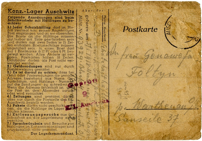 WWII Letter From a Prisoner at the Auschwitz Concentration Camp -- on Auschwitz Postcard With Camp ''Rules''