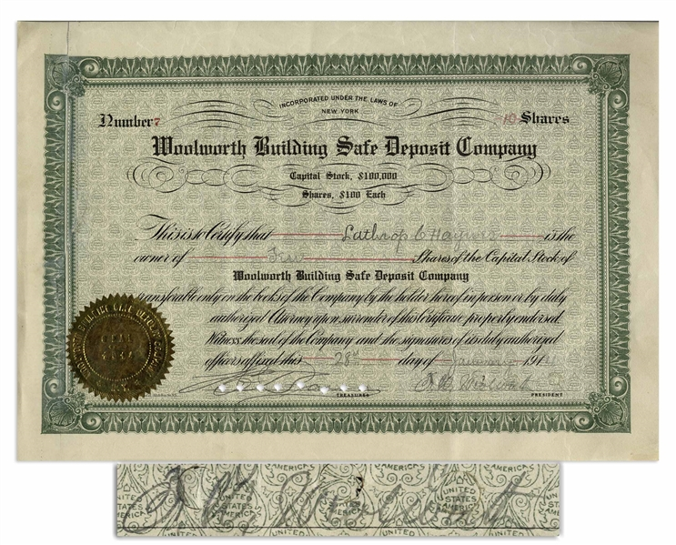 F.W. Woolworth Signed Stock Certificate for the Woolworth Building Safe Deposit Company -- From 1914 Shortly After the Historic Woolworth Building Was Completed