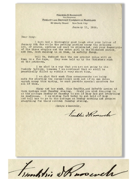 Franklin D. Roosevelt Letter Signed to His Physical Therapist -- ''...I have had a thoroughly good laugh over your letter...while the petting parties among the patients are, of course, serious...''