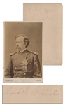 George Custer Cabinet Card, Inscribed by General Custers Wife to Medal of Honor Recipient Colonel George Gillespie