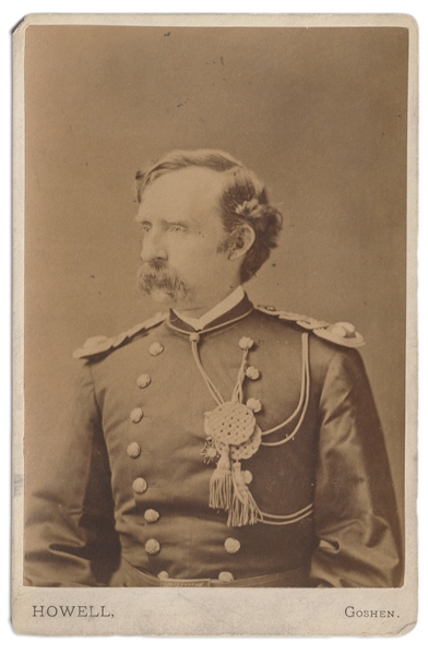 George Custer Cabinet Card, Inscribed by General Custer's Wife to Medal of Honor Recipient Colonel George Gillespie