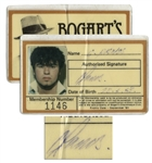 George Michael Signed 1981 Membership Card to the London Disco Bogarts, Then Frequented by the Young Superstar