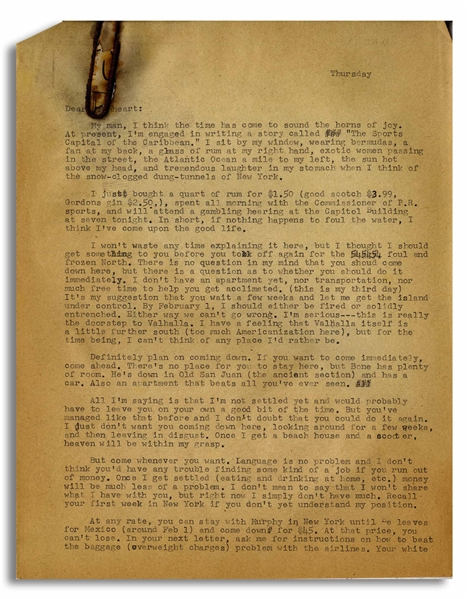 Hunter S. Thompson Letter Signed ''HST'', One of His First From South America in 1960 -- ''...Once I get a beach house and a scooter, heaven will be within my grasp...''