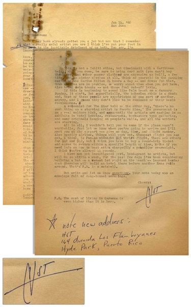 Hunter S. Thompson Letter Twice-Signed ''HST'' From San Juan in 1960 -- ''...This is not a Tahiti ethos, but Cincinnati with a Caribbean twist...''