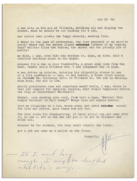 Exceptional Hunter S. Thompson Letter Signed That Reads Like a Short Story -- ''...lo and behold, a Nixon truck passes on Chesnut St. bellowing shit...now naked except for lies and patter...''
