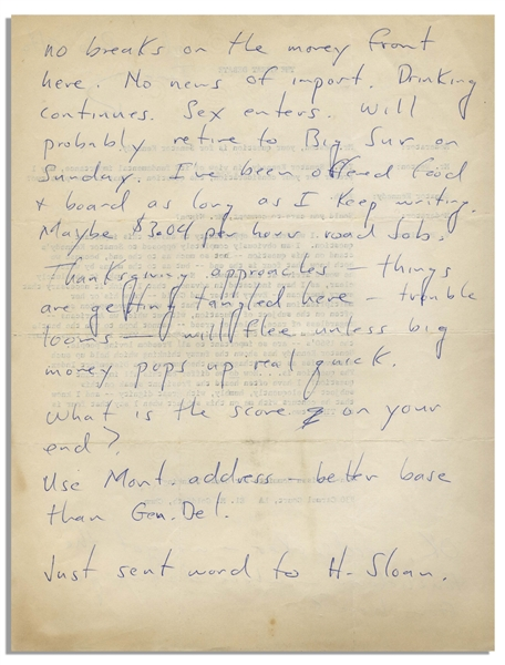 Hunter S. Thompson Autograph Letter Shortly After John F. Kennedy Was Elected -- Thompson Writes of JFK's Win, ''we got the touchdown - where do we go from here?''