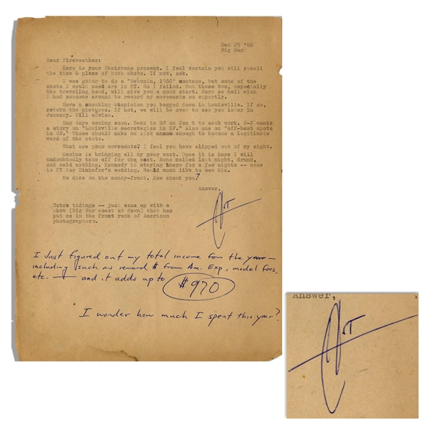 Hunter S. Thompson Letter Signed, With Funny Content -- ''...C-J wants a story on...'off-beat spots in SF.' These should make me sick enough to become a legitimate ward of the state...''