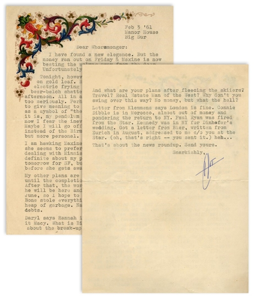 Hunter S. Thompson Letter Signed -- ''...my pendulum has swung toward the sun, and now I fear the inevitable plunge toward darkness. Maybe I will go off a cliff on the cycle...''