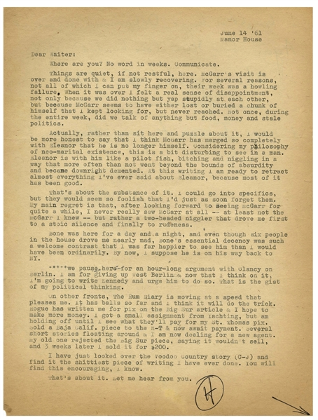 Hunter S. Thompson Letter Signed, With Autograph Note -- ''...bought a huge Doberman name of Agar for $100...Also a pistol for $70 & now I can't pay the rent...''