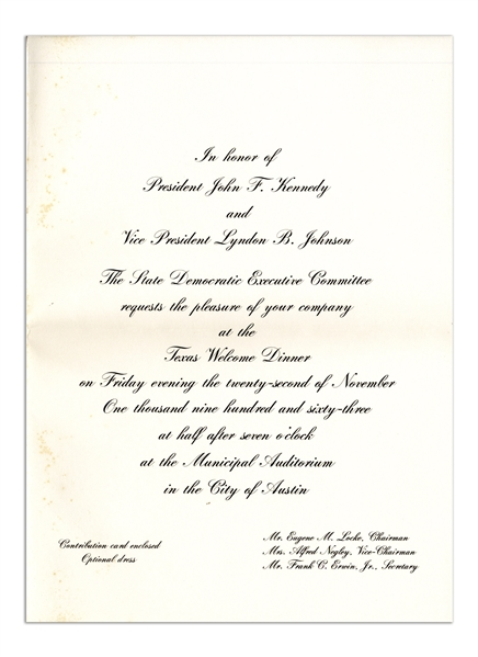 ''Texas Welcome Dinner'' Invitation to the Event Honoring President John F. Kennedy the Night of His Assassination