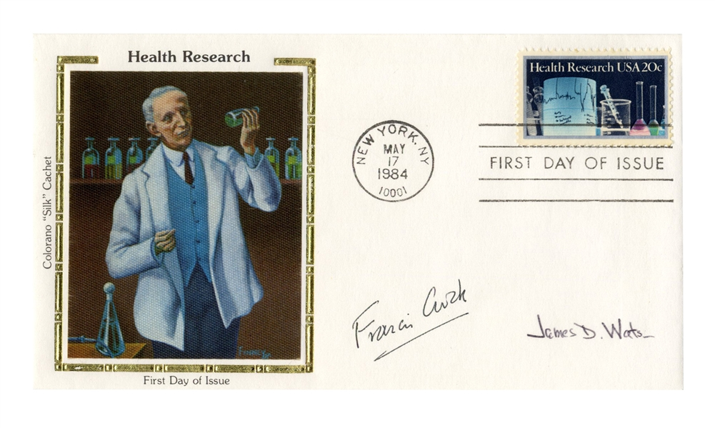 DNA Scientists Francis Crick and James Watson Signed First Day Cover Honoring Health Research
