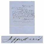 Jefferson Davis Autograph Letter Signed to Georgias Governor in June 1861, Asking for Troops -- ...your well equipped, armed & supplied troops are to us a great relief - thanks for your zeal...