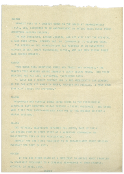 AP Wire Teletype From 22 November 1963 Regarding the Assassination of John F. Kennedy -- ''I could see a Secret Service man in the President's car...with his hands in anger, anguish and despair...''