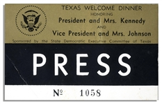 Texas Welcome Dinner Press Pass From the Night of John F. Kennedys Assassination