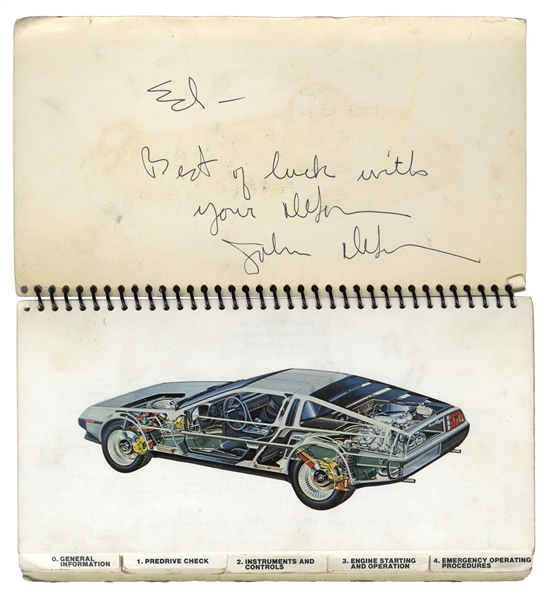 John DeLorean Signed Owner's Manual for the Iconic DMC-12