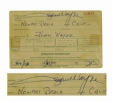 John Wayne Signed Document for a Celebrity Tennis Tournament