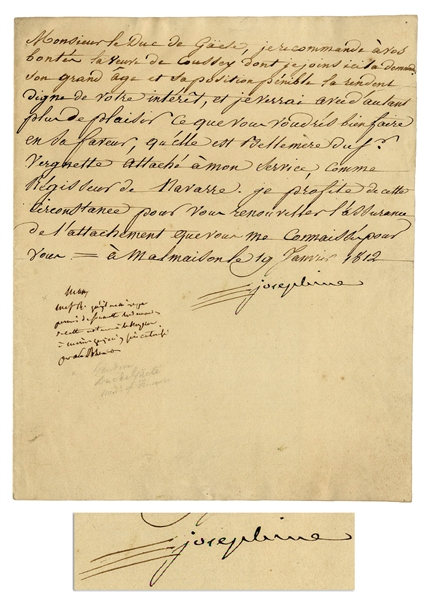 Josephine Bonaparte Letter Signed -- The Widow Josephine Writes a Letter of Recommendation for Another Widow