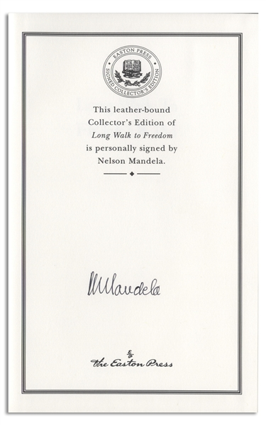 Nelson Mandela Signed Luxury First Edition of His Celebrated Autobiography ''Long Walk to Freedom'' -- Fine Condition