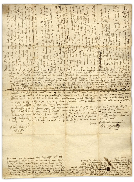 Important Oliver Cromwell Autograph Letter Signed From 1648 Regarding His Son's Matrimony -- ''...Mr. Maijor desired 400l. per annum of inheritance...wherein I desired to be advised by my wife...''