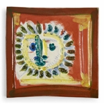 Pablo Picasso Petit Visage Solaire, Number 552 -- Ceramic Plaque Created at the Madoura Pottery Studios