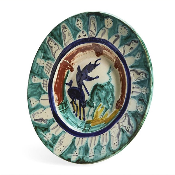 Pablo Picasso ''Corrida aux Personnages'', Number 104 -- Colorful Ceramic Plate Created at the Madoura Pottery Studios in Very Small 50 Edition, Painted by Picasso in His Quintessential Style