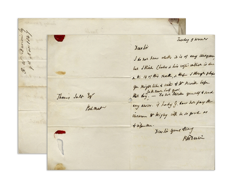 Robert Darwin Autograph Letter Signed Regarding Charles Darwin's Financial Obligations
